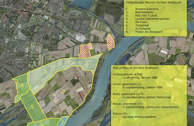 Gebiedskaart Nieuwe Dordtse Biesbosch